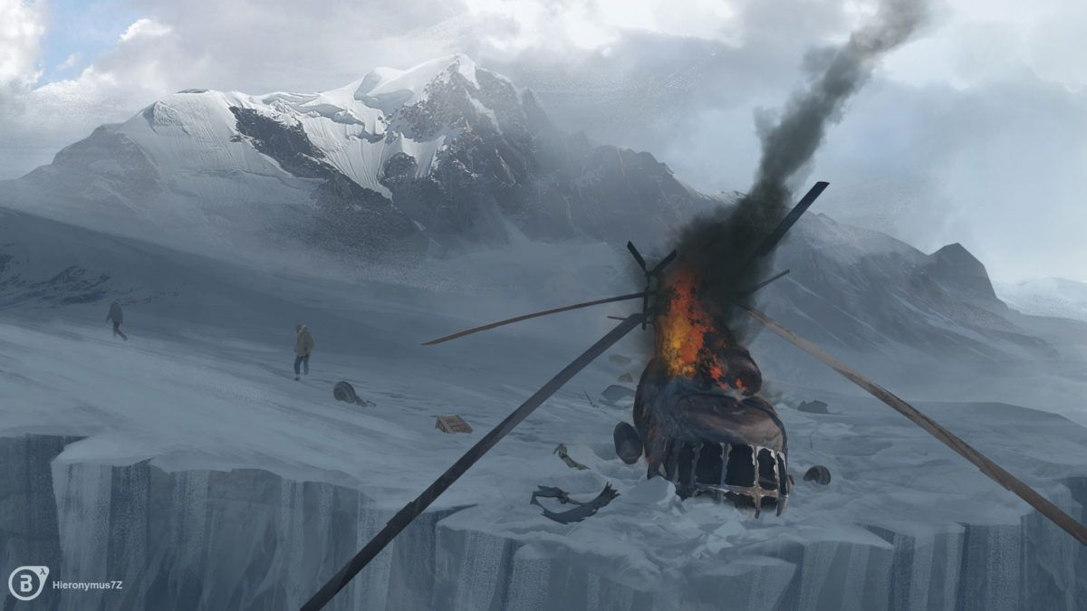 Helicopter crash art